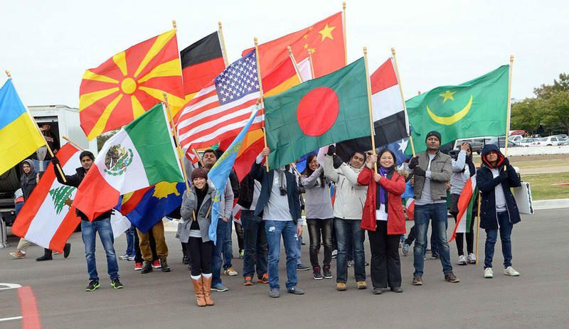Students from across the globe stage their annual Parade of Flags at the University of Texas at Dallas in November.