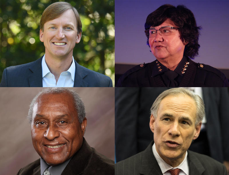 Andrew White (top left), Lupe Valdez (top right) and Grady Yarbrough (bottom left) are among eight Democrats and one Republican challenging Gov. Greg Abbott (bottom right).