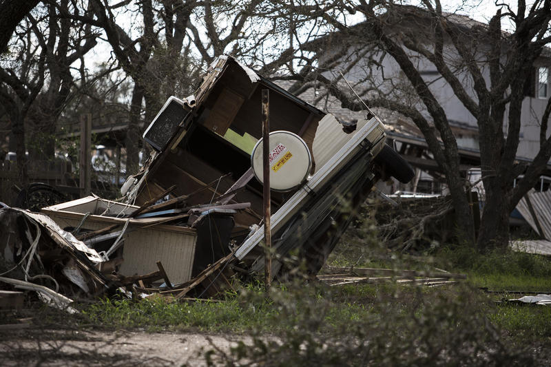 A motor home destroyed by Hurricane Harvey in Rockport.
