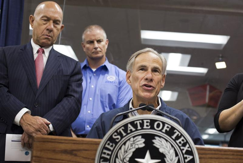 Gov. Greg Abbott give a briefing to the media regarding hurricane Harvey at the DPS Command center in Austin, Texas on Auguat 25, 2017.