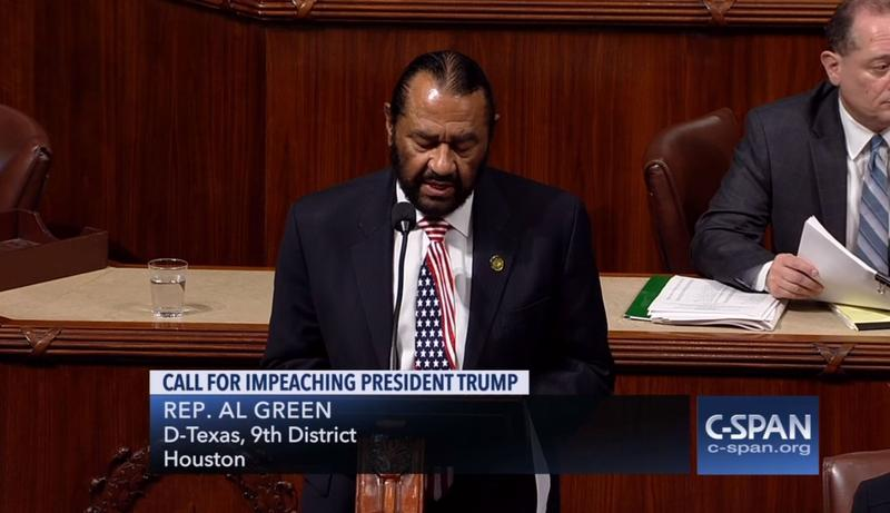 U.S. Rep. Al Green, D-Texas, called for the impeachment of President Trump on Wednesday on the House floor.