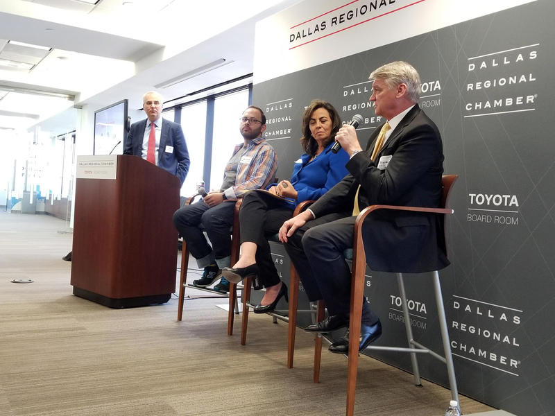 From left: USPTO's Interim Director, Joseph Matal; Richard Margolin, Founder of Robokind Advanced Social Robotics; Hilda Galvan, Partner-in-Charge at Jones Day; Frank Grassler, VP of Technology Development at UTSW at the Dallas Regional Chamber.