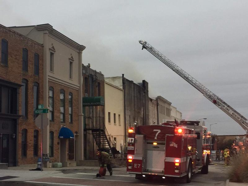 A fire damaged several businesses in downtown Denton Tuesday morning. No injuries were reported.