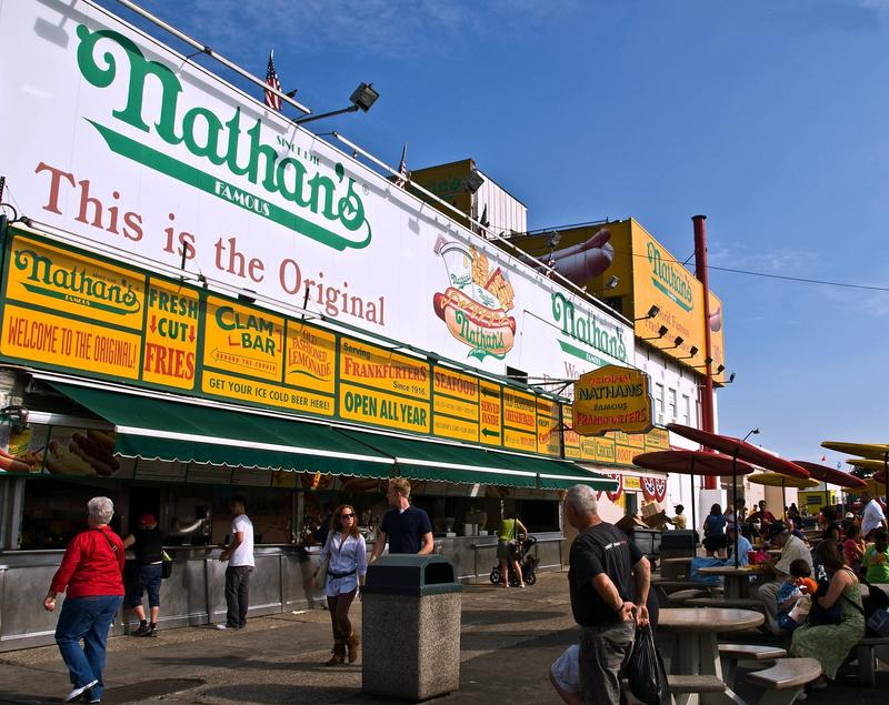 Nathan's Famous hot dog stand in Coney Island.