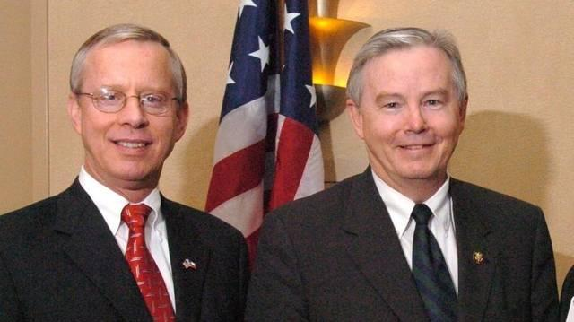 Ron Wright (left) worked with Rep. Joe Barton (right) from 2000 to 2011. Wright resigned as Tarrant County's Tax Assessor-Collector to run.