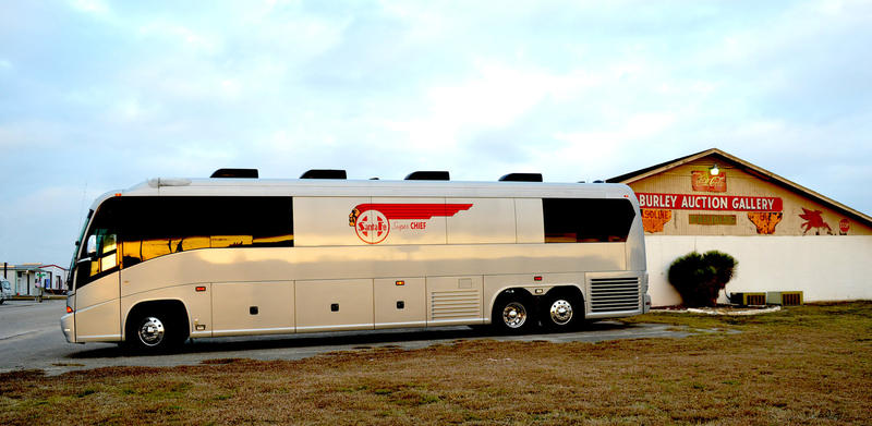 "Merle Haggard's 2008 MCI J4500 ""Super Chief"" tour bus."