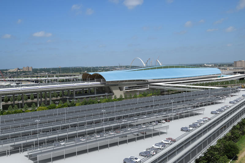 View of the parking structure to the northeast of the bullet train station looking southwest across the Trinity River basin.