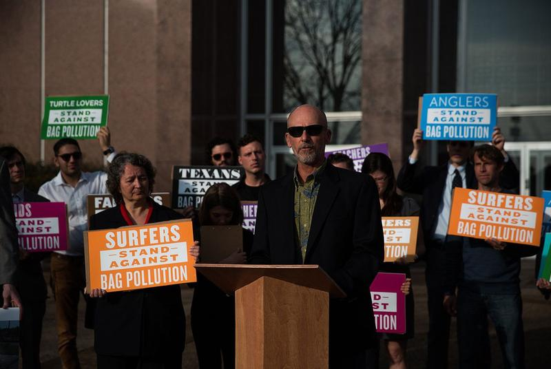 Single-use bag ban advocates hold a press conference before the Texas Supreme Court prior to oral arguments on the legality of Laredo's ban on January 11, 2018.