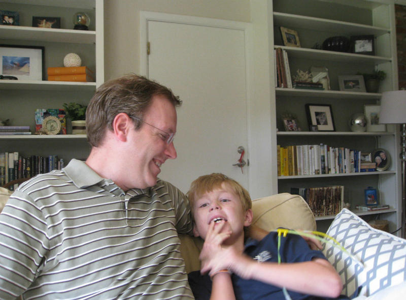 Father Pete Yoder and son Will, who's on the autism spectrum, at home in Fort Worth.