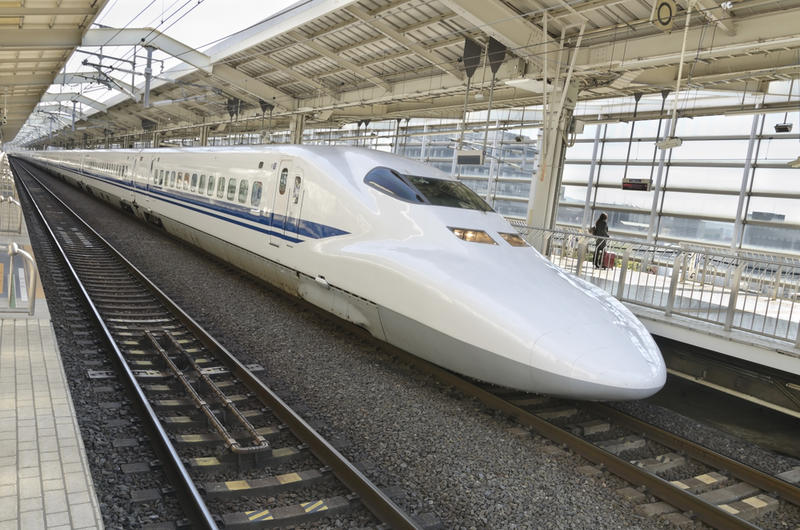 The Shinkansen bullet train that goes at incredible speeds of up to 200 mph.