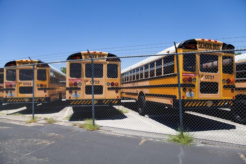 Austin ISD school buses at the terminal near John H. Reagan High School on July 26, 2017.