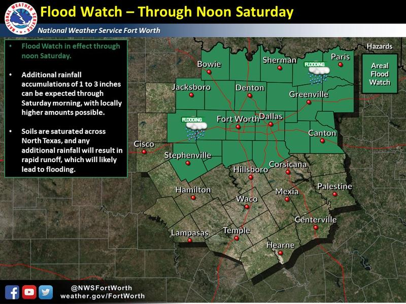 A flood watch is in effect for North Texas through Saturday morning.