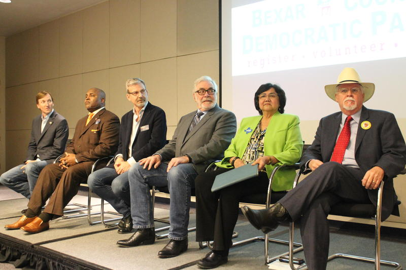 Democratic candidates for governor attended a debate in San Antonio Tuesday night. From left to right, Andrew White, Cedric Davis, Jeffrey Payne, Joe Mumbach, Lupe Valdez, and Tom Wakely.