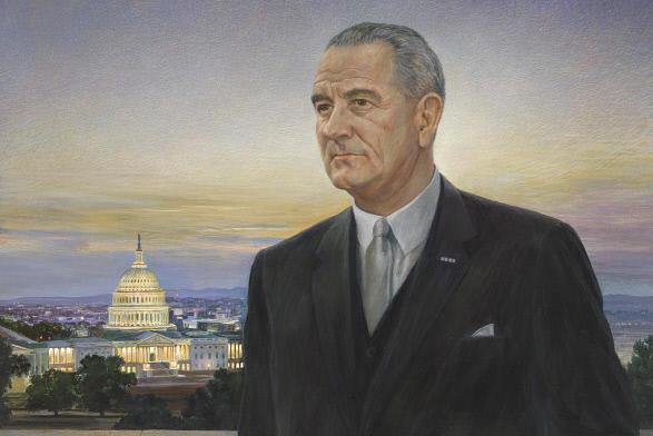 Peter Hurd's portrait of President Johnson.