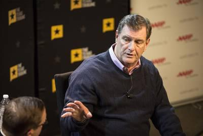 Dallas Mayor Mike Rawlings in conversation with the Texas Tribune co-founder CEO Evan Smith on Friday.