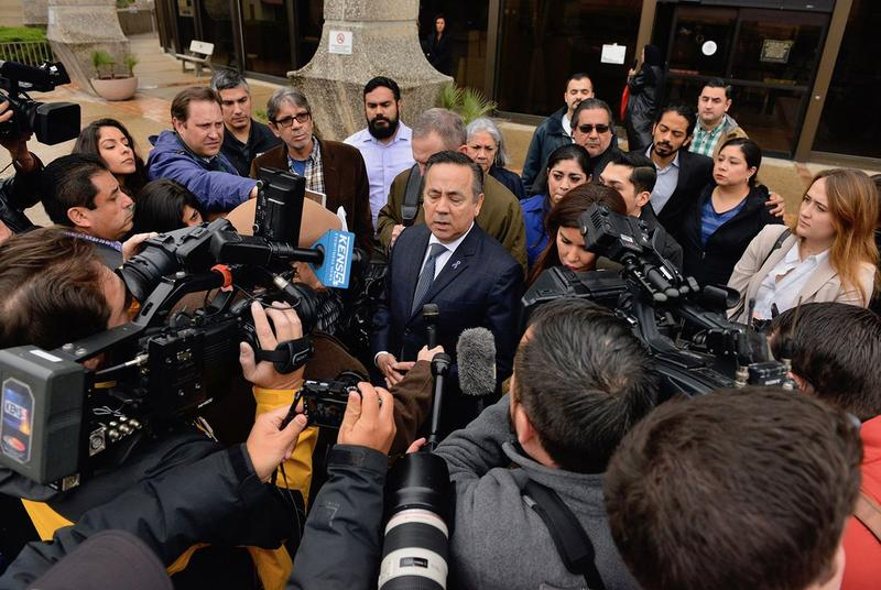 State Sen. Carlos Uresti, D-San Antonio, speaks at a press conference outside the federal courthouse in San Antonio after being found guilty of multiple felonies, on Feb. 22, 2018.