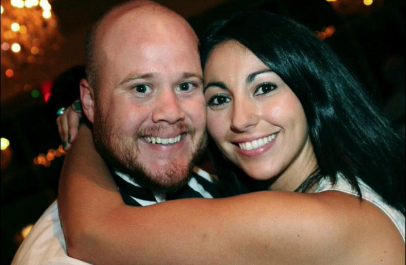 David Sherrard and his wife, Nicole, in a photo shown during his funeral service Tuesday afternoon at Watermark Community Church in Dallas. The service was livestreamed by the church.
