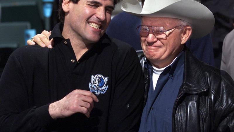 Mark Cuban and Don Carter together at Dallas Mavericks game.