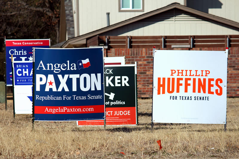 Angela Paxton and Phillip Huffines are locked in an expensive battle to win the Republican nomination for Texas Senate District 8 in Collin County.