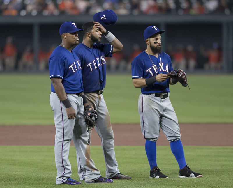From left to right: Adrian Beltre, Elvis Andrus and Rougned Odor.