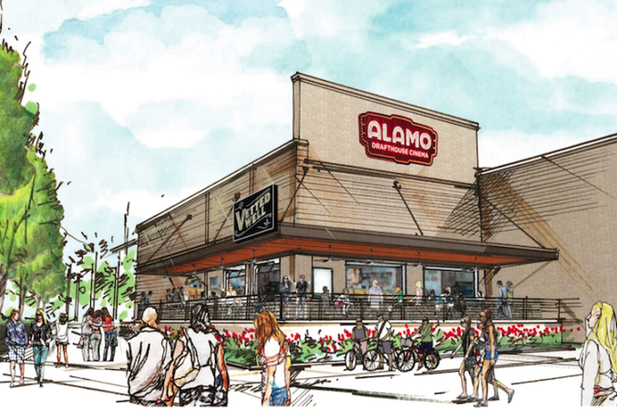 A rendering of the Lake Highlands Alamo Drafthouse, which opens on March 20.