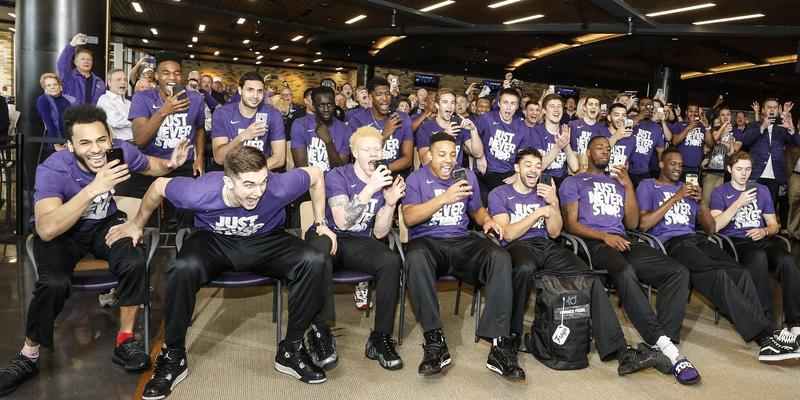 TCU basketball posted this photo of the team Sunday night when the NCAA bracket was announced.