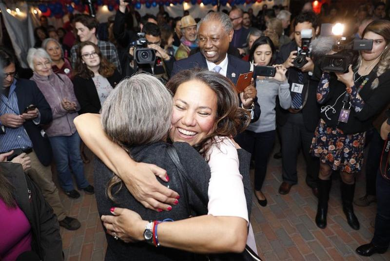 Veronica Escobar, a Democratic candidate for the U.S. House, celebrates early voting results with supporters at her primary election watch party in El Paso on Tuesday, March 6, 2018.