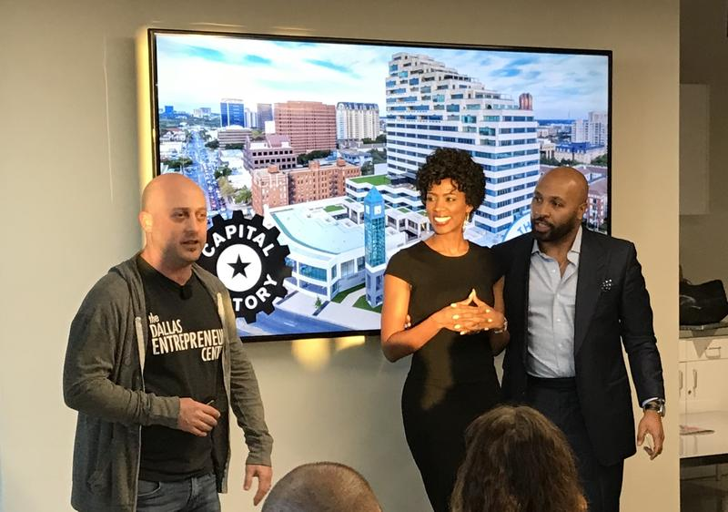 Josh Baer, left, announces Shearshare founders Courtney and Tye Caldwell the Dallas winners of the Diversity & Inclusion Investment Challenge.