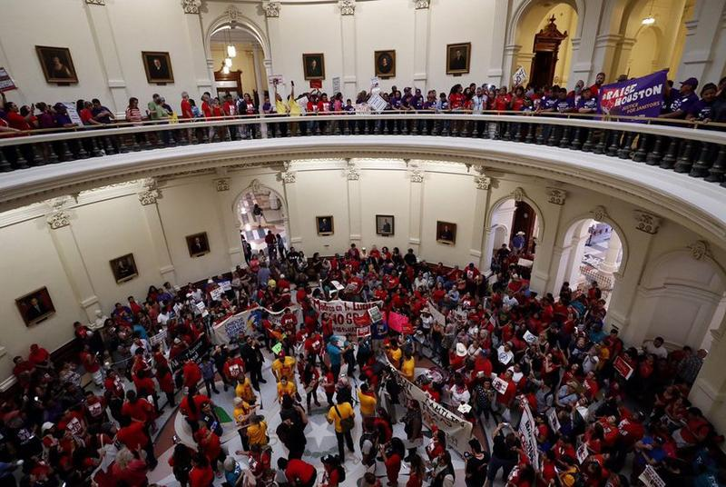 "On the last day of the 85th Legislative session, protesters opposed to Senate Bill 4, the ""sanctuary cities"" bill fill up the rotunda of the state Capitol in Austin on May 29, 2017."