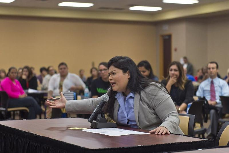 Vanessa Tijerina addresses a U.S. Department of Education panel about her 13-year-old special needs child on Dec. 13, 2016, in Edinburg, Texas. Federal education officials toured Texas to hear community members' experiences with special education.