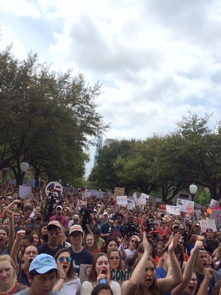 Thousands of protesters gathered at the Texas State Capitol in Austin on Saturday afternoon.