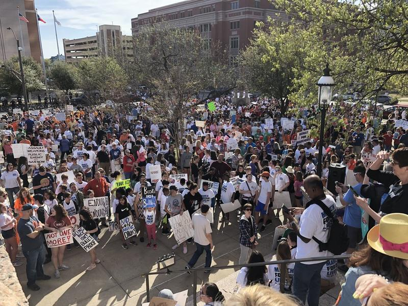 People gathered outside the Tarrant County Courthouse for the March For Our Lives in Fort Worth.