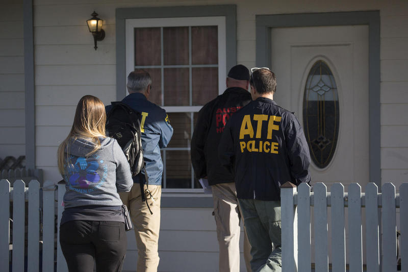 Law enforcement officials enter the Pflugerville home of Danene and William Patrick Conditt, the parents of Mark Anthony Conditt. Mark Anthony Conditt, a suspect in the Austin serial bombings, died as police surrounded his car.