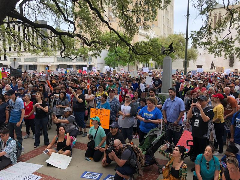 People gathered at San Antonio City Hall for a rally to call for gun control.