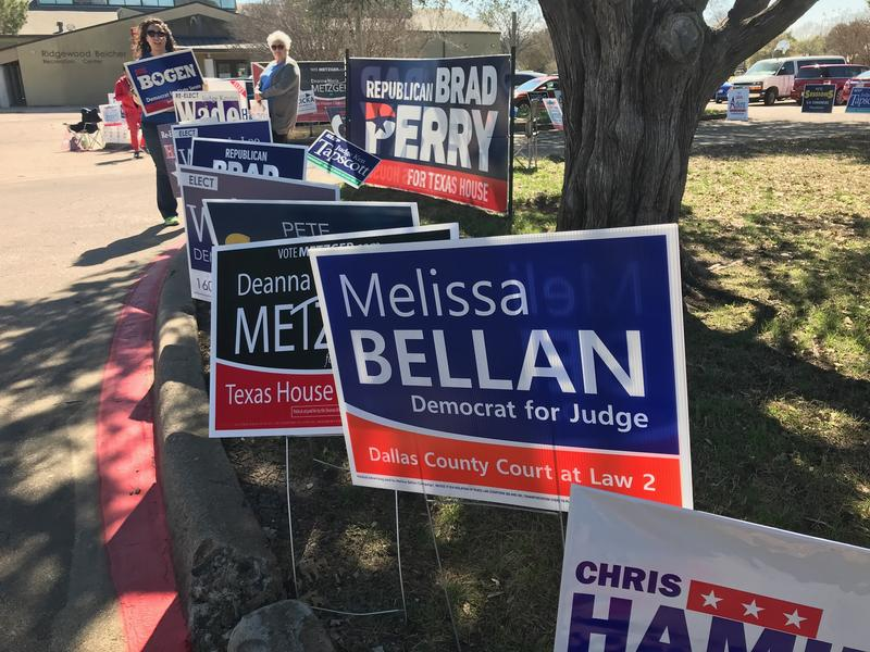 Signs for North Texas candidates outside Ridgewood-Belcher Recreation Center in Dallas on March 7.
