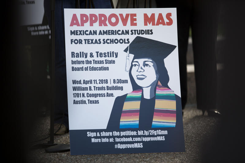 A rally supporting an increased Mexican-American Studies curriculum for Texas schools outside of the William B. Travis building.