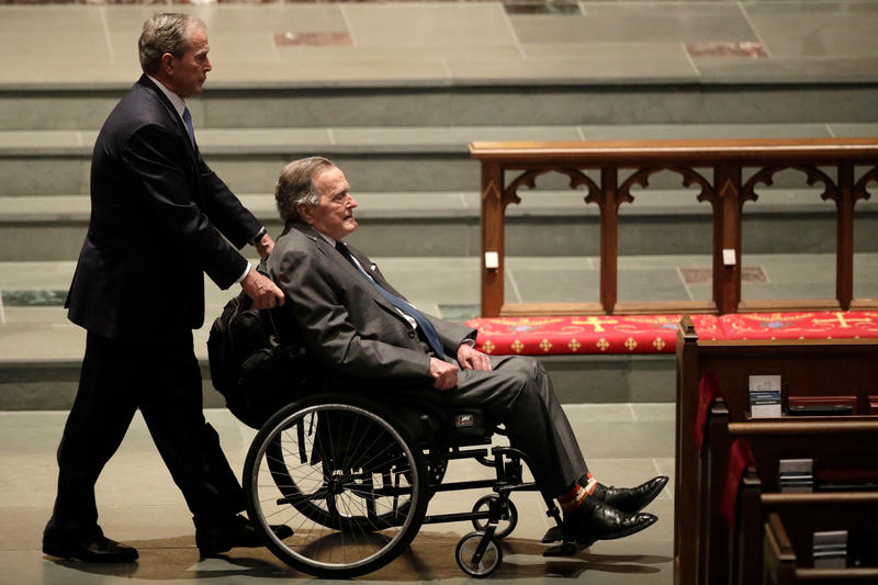 Former presidents George W. Bush, left, and George H.W. Bush arrive at St. Martin's Episcopal Church on April 21, 2018 for a funeral service for former first lady Barbara Bush in Houston.