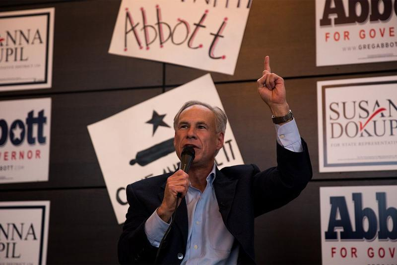 Gov. Greg Abbott speaks at a get out the vote rally in Houston on Tuesday, Feb. 20, 2018, the first day of early voting for Republican and Democratic primaries in Texas.
