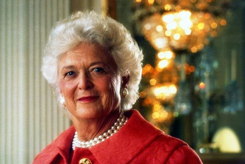 Former First Lady Barbara Bush in the White House East Room for an official White House portrait, January 1992.