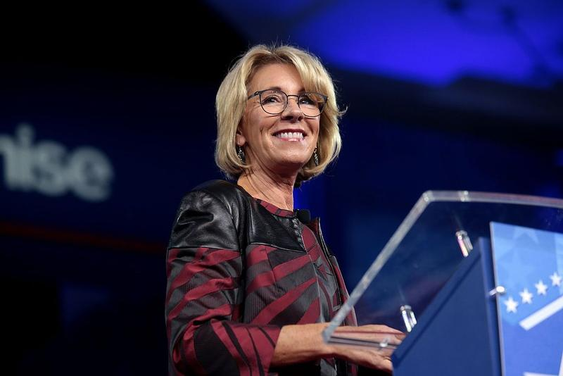 U.S. Secretary of Education Betsy DeVos speaks at the 2017 Conservative Political Action Conference (CPAC) in National Harbor, Maryland.