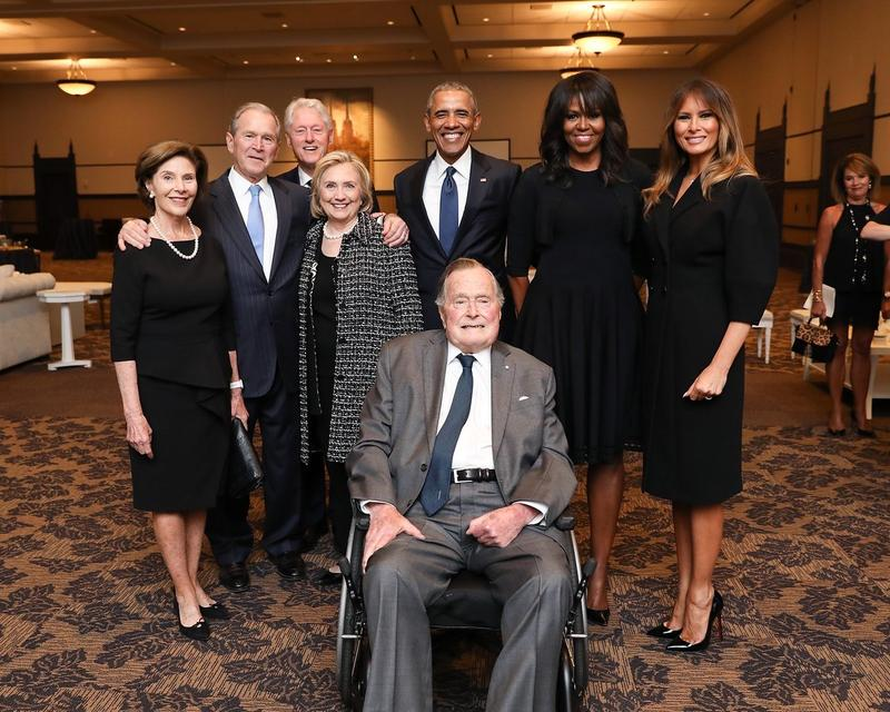 Former President George H.W. Bush, following Saturday's funeral for his wife, Barbara. He uses a wheelchair and an electric scooter for mobility after developing a former of Parkinson's disease.