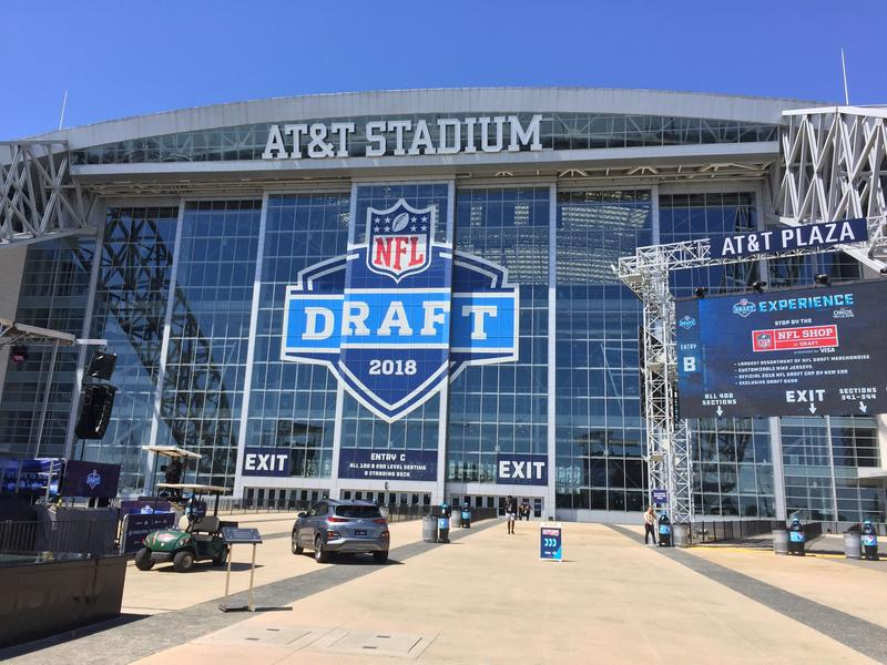 View from the NFL Draft Experience zone outside AT&T Stadium in Arlington.