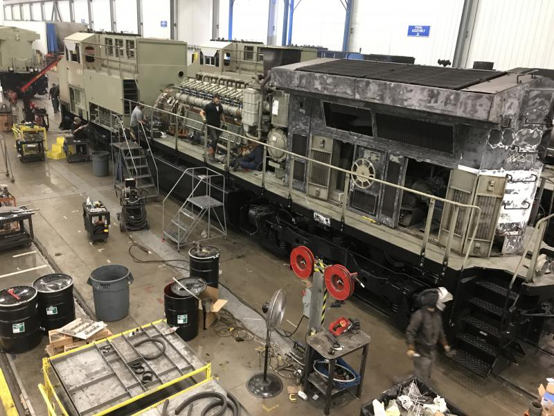 A locomotive is being refurbished and modernized at GE's factory in Fort Worth
