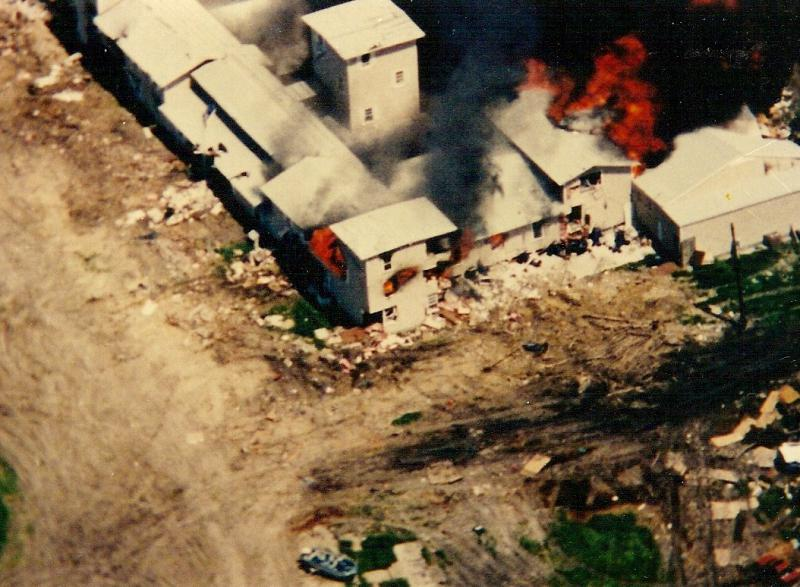 The Branch Davidians compound set ablaze in Mount Carmel, outside of Waco, on April 19, 1993.
