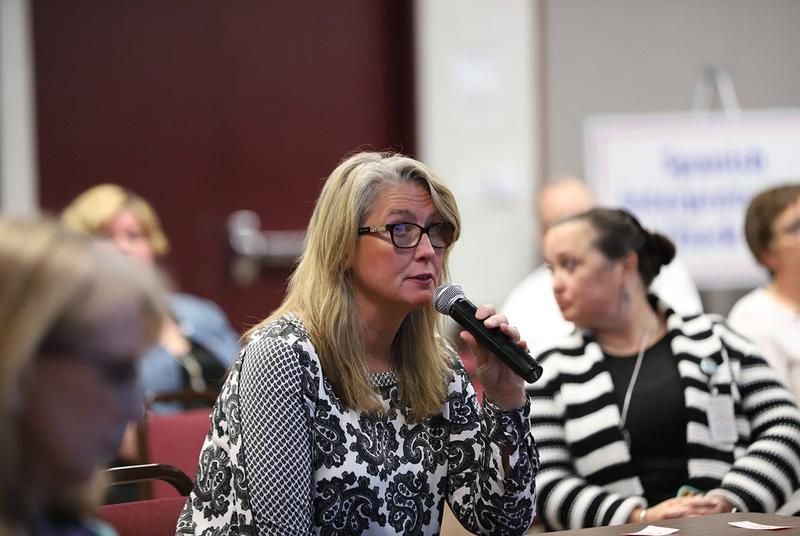 Jaculyn Zigtema, special education director for Whitehouse ISD, speaks during a Texas Education Agency hearing on special education funding in Richardson on April 16, 2018.