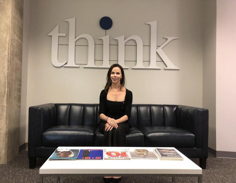 "Barbara Pierce Bush in the KERA ""Think"" studio on Wednesday."