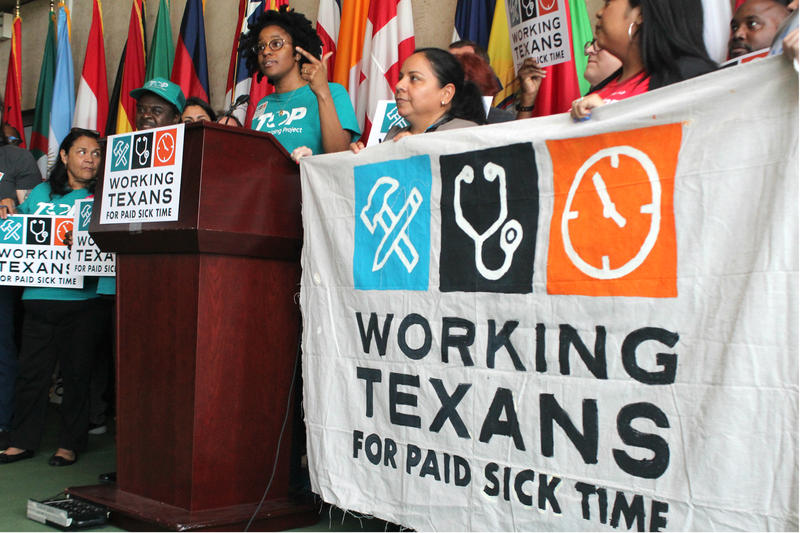 Texas Organizing Project Deputy Director Brianna Brown rallies supporters at the launch of the paid sick leave petition drive in April 2018.