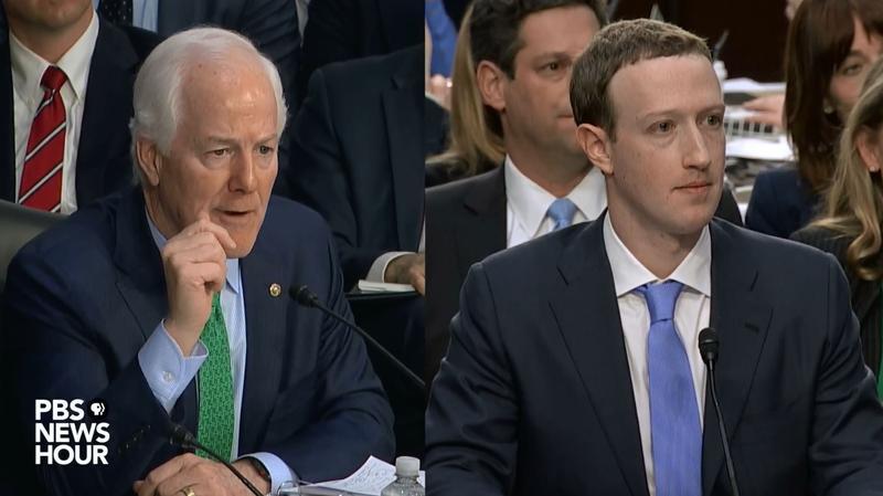U.S. Sen. John Cornyn questions Facebook CEO Mark Zuckerberg during a Senate hearing Tuesday.