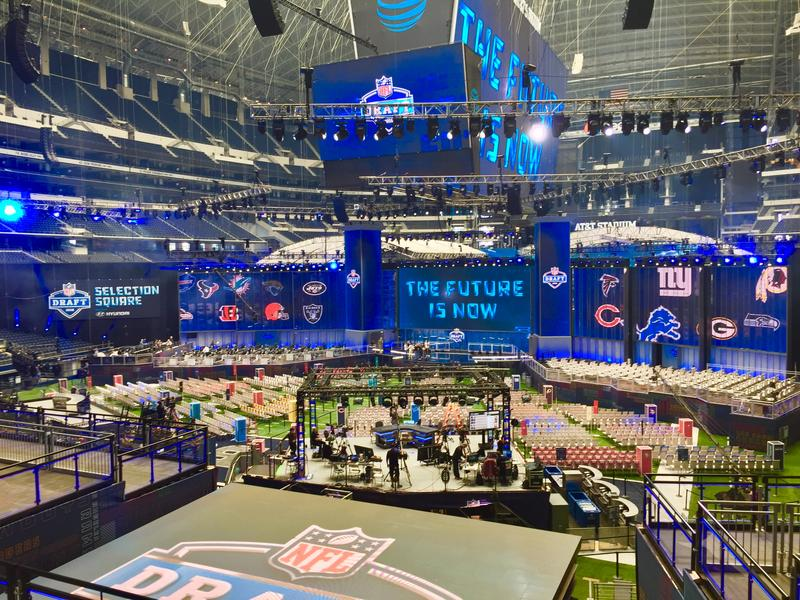 The NFL Draft stage inside AT&T Stadium in Arlington.