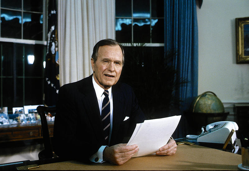 Former President George H.W. Bush gives address to the nation from the Oval Office on the suspension of allied offensive combat operations in the Persian Gulf War in 1991.